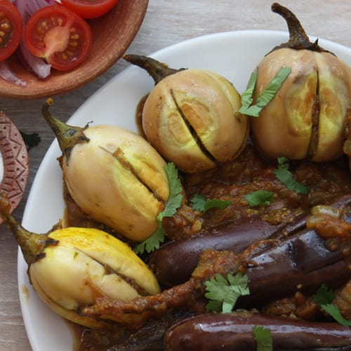Pure Punjabi Stuffed aubergines plantbased meal prep