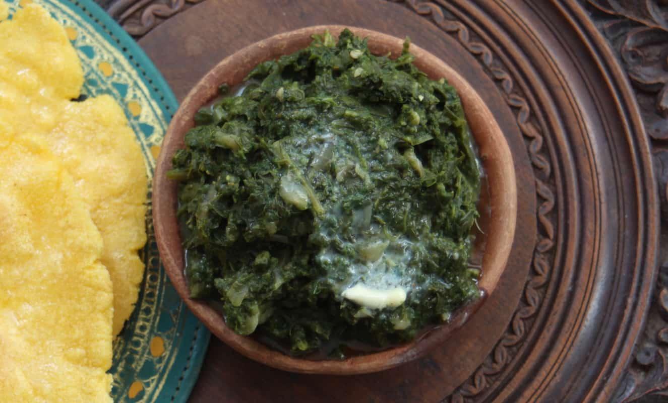 Pure Punjabi meal prep Saag and Indian corn chapatti