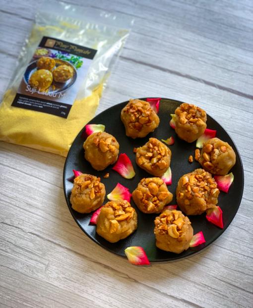 Suji Laddu Mix bu Pure Punjabi, Indian sweets, easy Indian sweet recipes, how to make Indian sweets, vegan sweets, vegan dessets, plant based desserts, plant based sweets, purepunjabi.co.uk