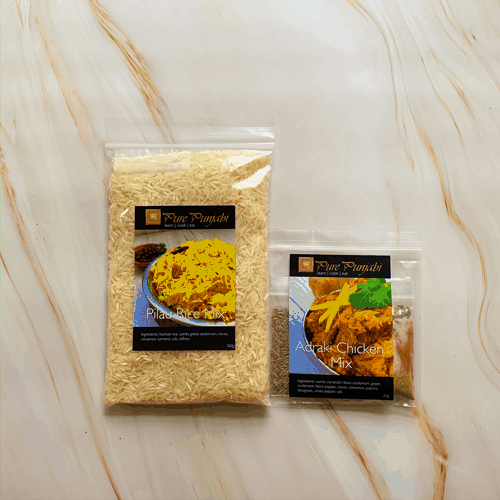 Adraki chicken, Pilau rice, meal kits, Indian meal kits, curry kit, purepunjabi.co.uk, gluten free, wheat free