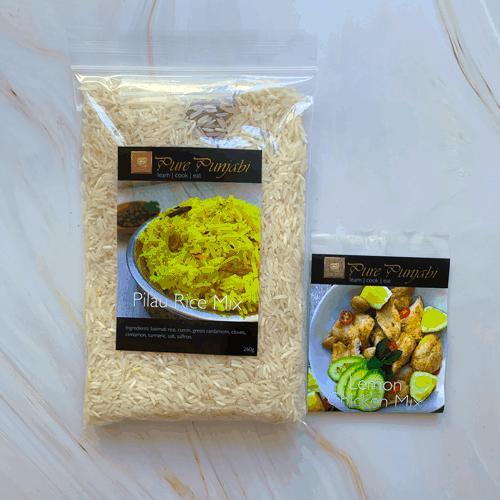 nimbu chicken, pilau rice, indian dinner kit, dinner kit, curry kit, gluten free, wheat free, dairy free, Lemon chicken