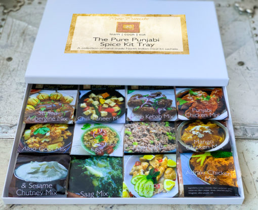 The Pure Punjabi Spice Kit Tray, Christmas gifts, foodie gifts, gluten free food gifts, curry kits, dinner kits, meal kits, purepunabi.co.uk, indianmealkits.co.uk