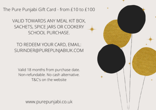 Pure Punjabi Happy Birthday gift card white:balloons-from £10-£100